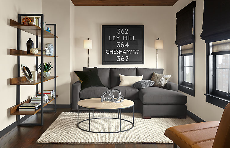 Living room with Metro sofa with reversible chaise in desmond charcoal