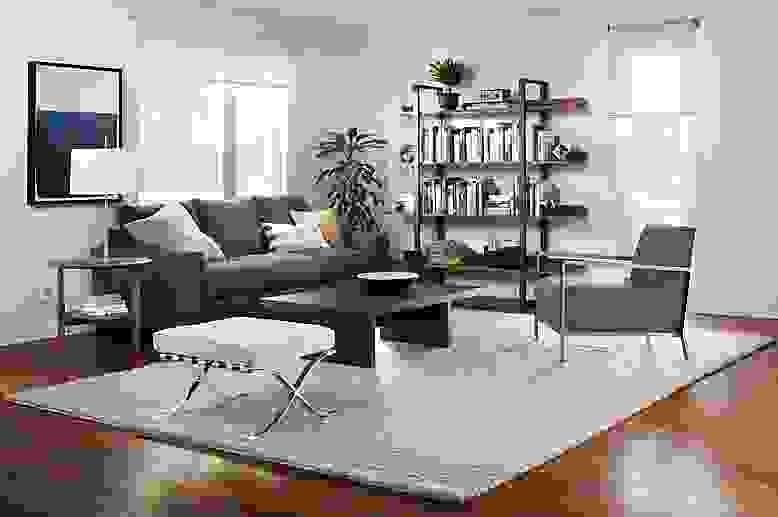 Detail of grey Metro sofa in living room