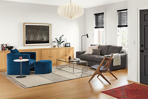 Detail of Silva chair in banks denim in living room with metro sofa