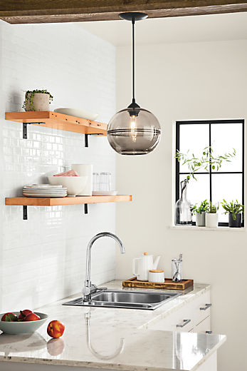 Milton reclaimed wood wall shelves above sink