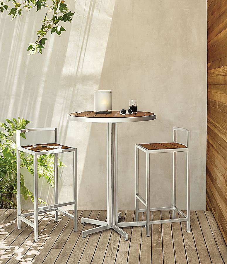 Montego Bar Table & Stools in Stainless Steel