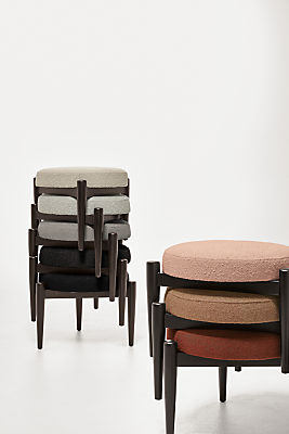 Detail of 8 stacked Murphy ottomans in declan fabrics