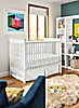 Nest Crib & Woodwind Bookcases in White