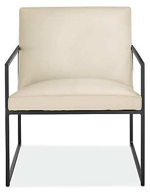 Front view of Novato custom chair in leather