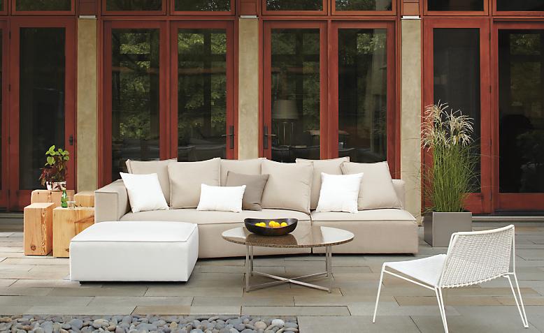 Patio with Oasis corner wedge in sunbrella canvas flax