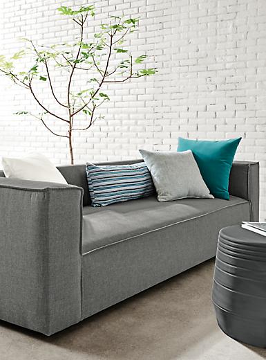 "Detail of 98"" Oasis sofa in slate"
