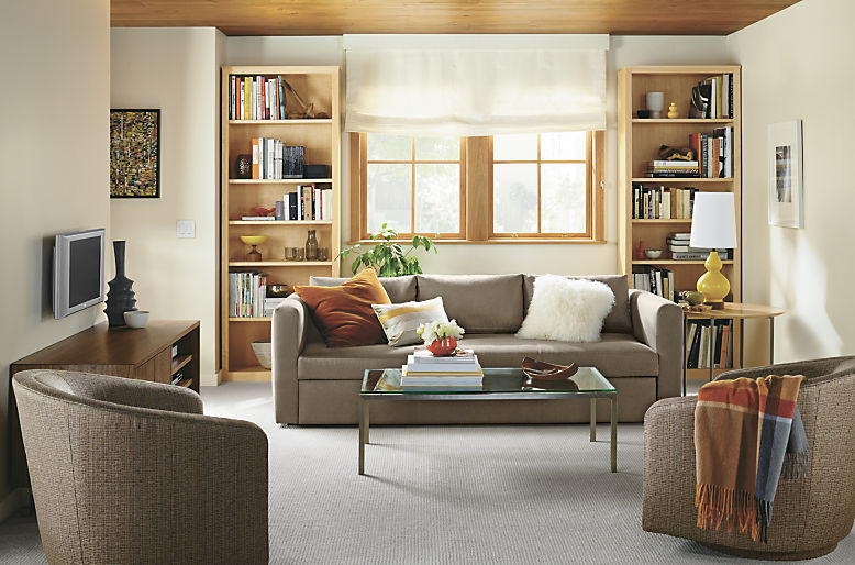 Living room with Oxford sleeper sofa in dawson otter