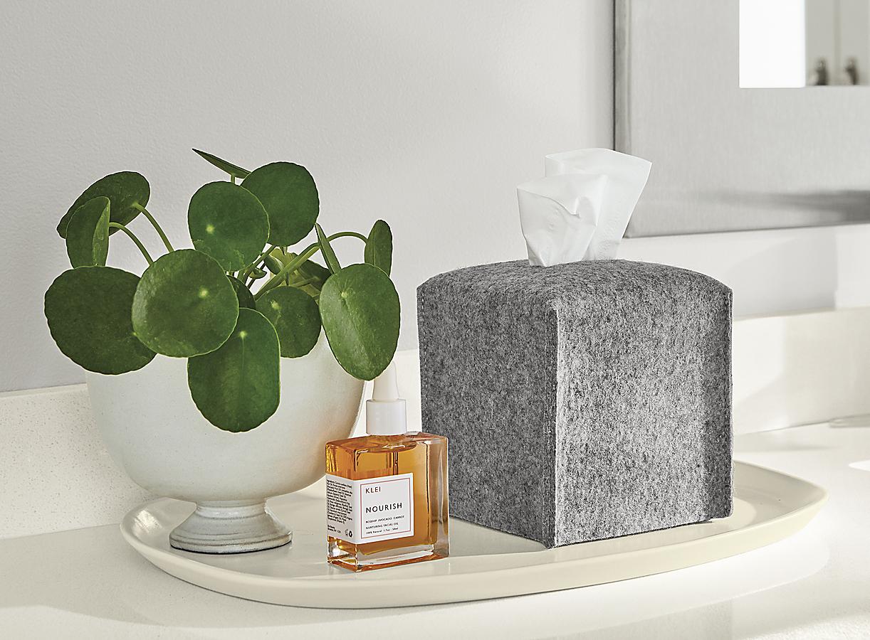 Paros Tissue Box Cover and Nadia Tray