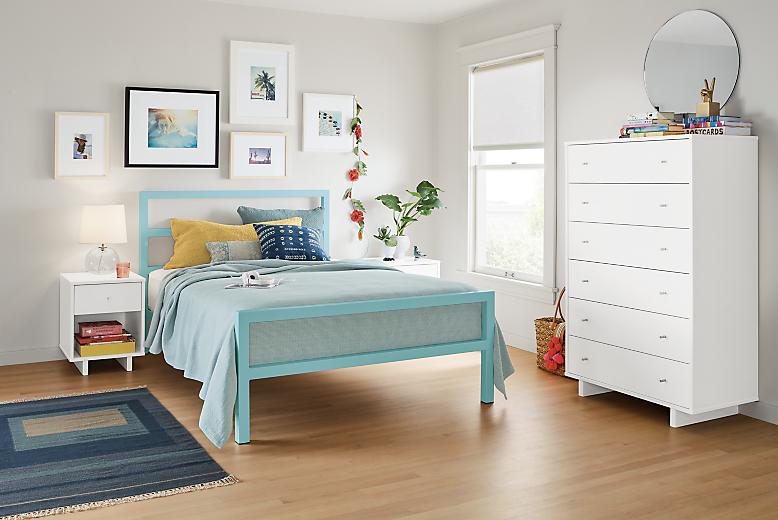 Detail of Parsons full bed in light blue