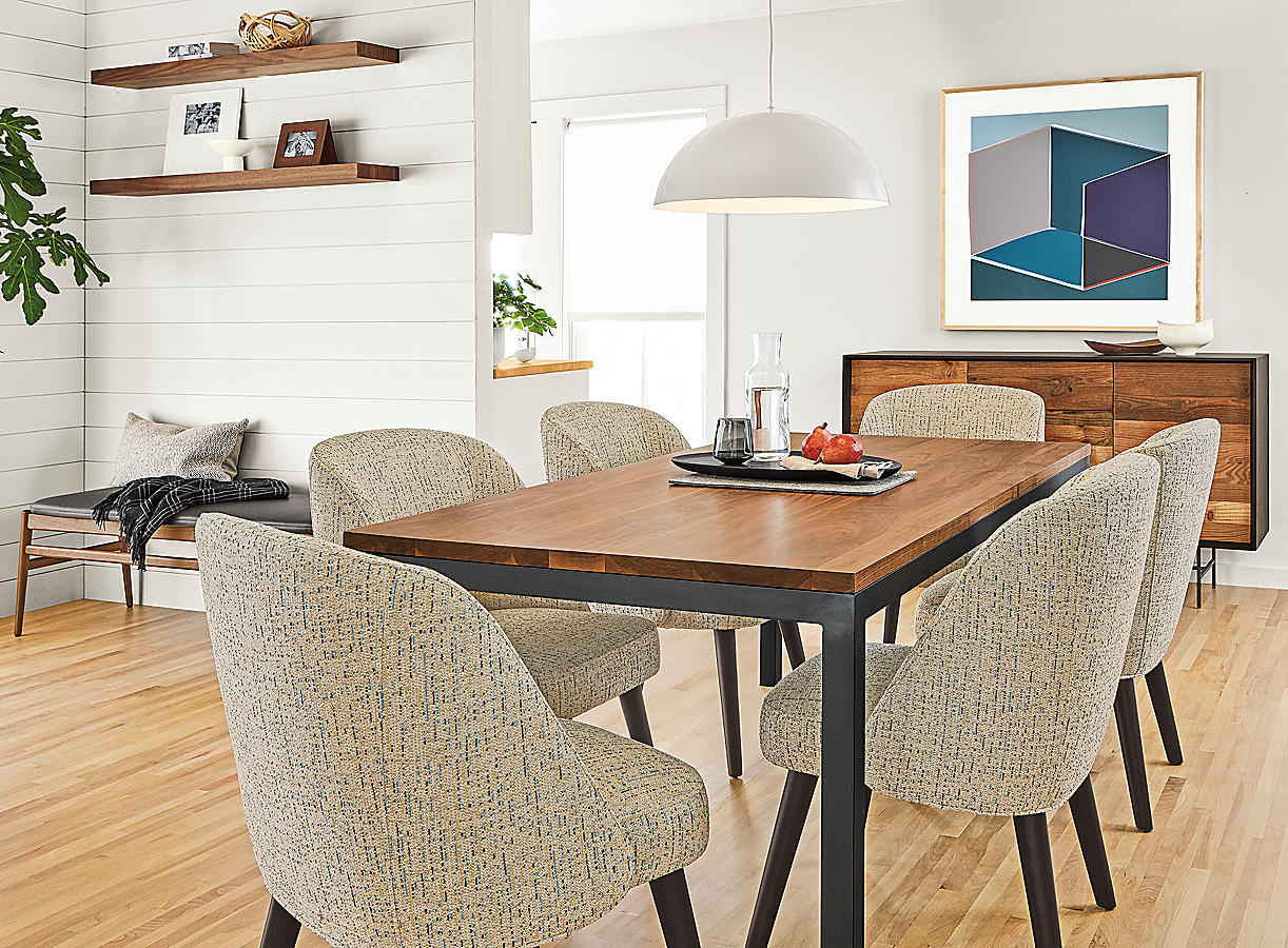 Parsons Walnut Table with Cora Chairs