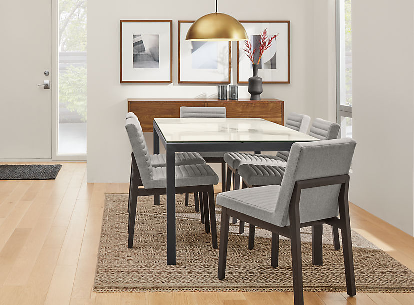 Parsons Table with Olsen Chairs in Grey