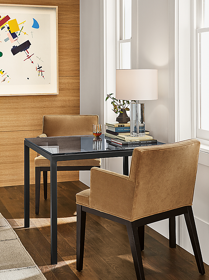 Parsons Table with Ansel Chairs in Small Space