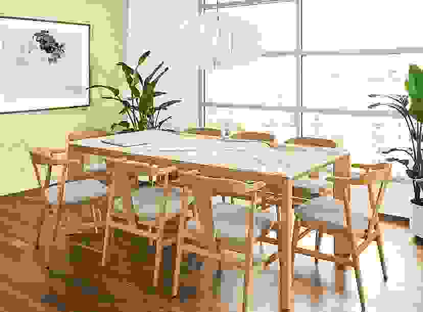 Scandanavian Dining Room with Pren Dining Table