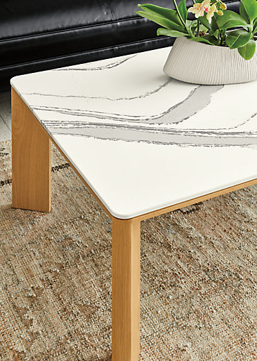 Detail of Pren coffee table in white oak with Cambria Brittanica top