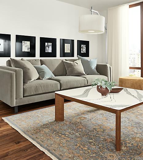 Detail of Pren coffee table and Cade sofa on Vesuvio rug