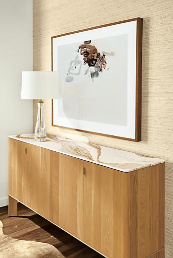 Detail of Pren storage cabinet in white oak with Cambria Brittanica Gold top