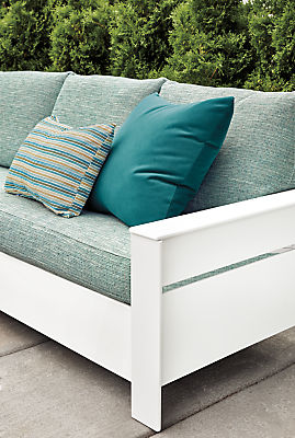 Detail of Rayo outdoor sofa in Phipps spa fabric