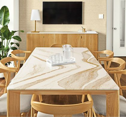 Shop this room with the Pren Table & Cabinet with Cambria Quartz Tops