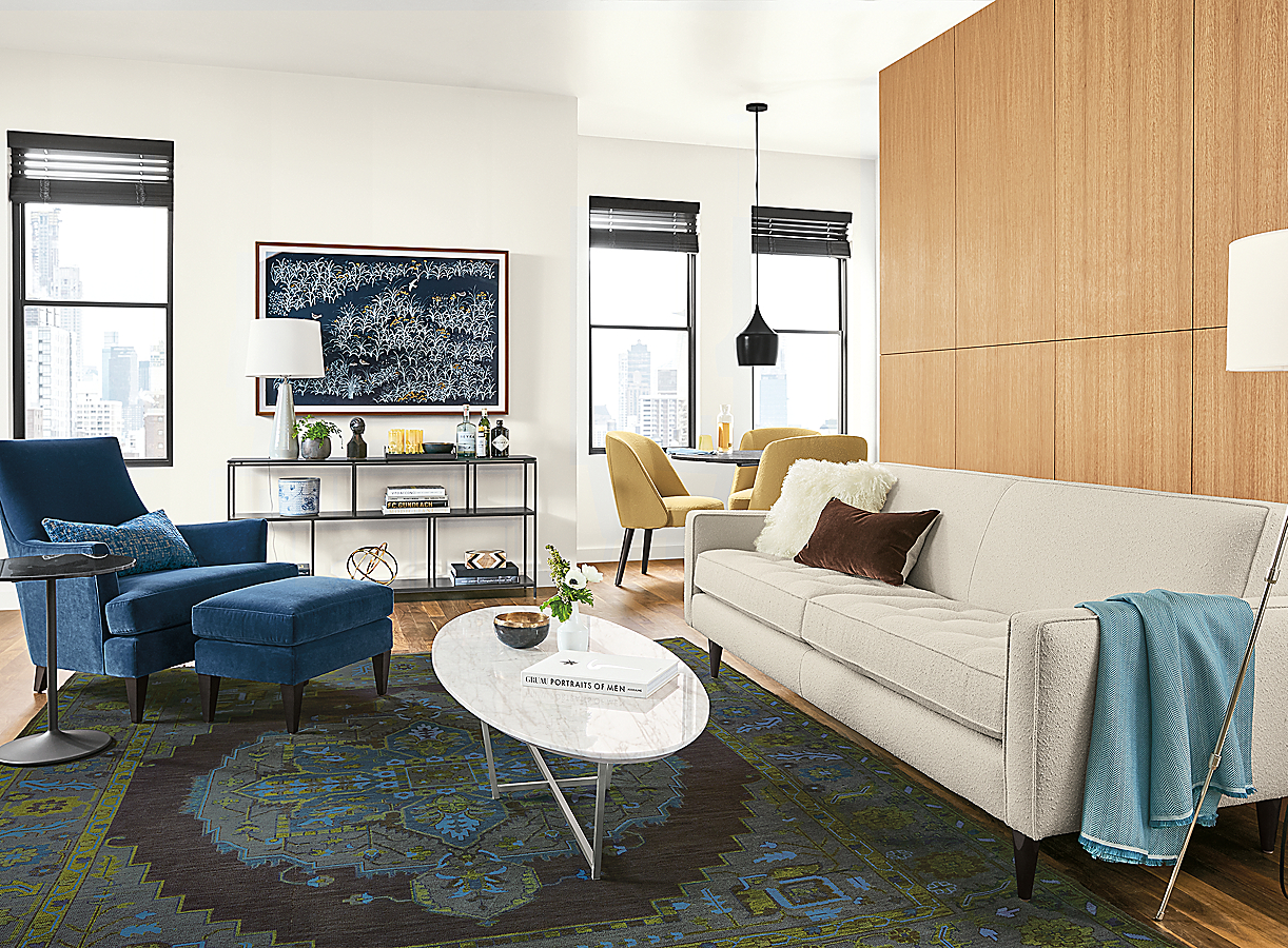 Reese Sofa with Saturated Blues