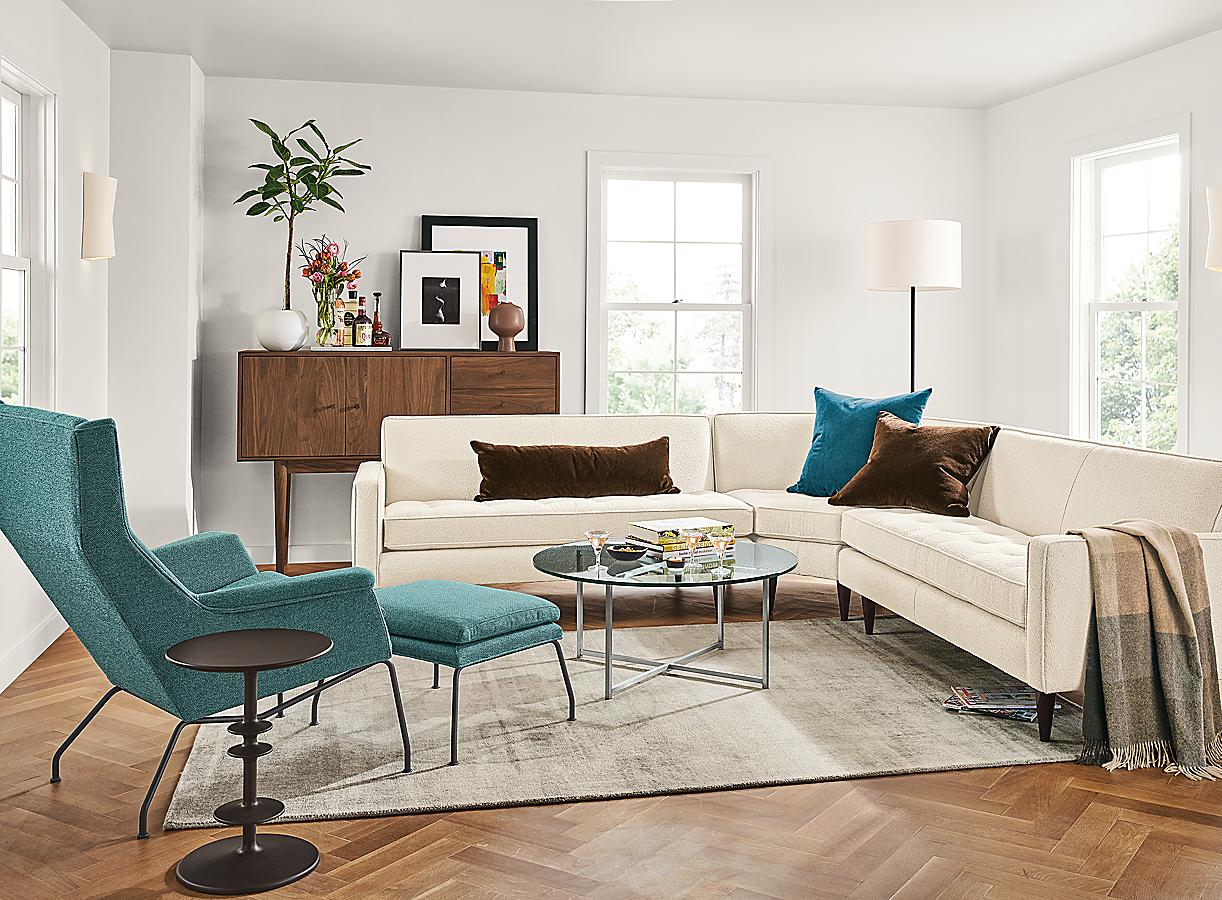 Aidan Chair & Ottoman in Tatum Teal