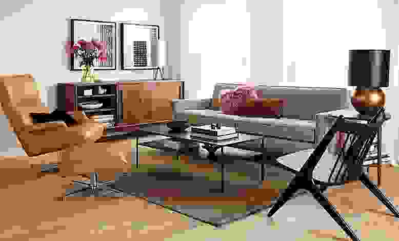 Living room with Reese sofa in tatum grey
