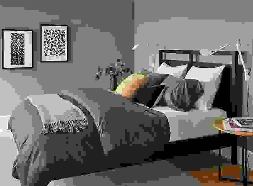 Sateen Bedding in Slate