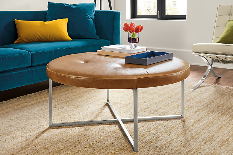 Sidney Leather Round Ottomans Modern Living Room Furniture Board