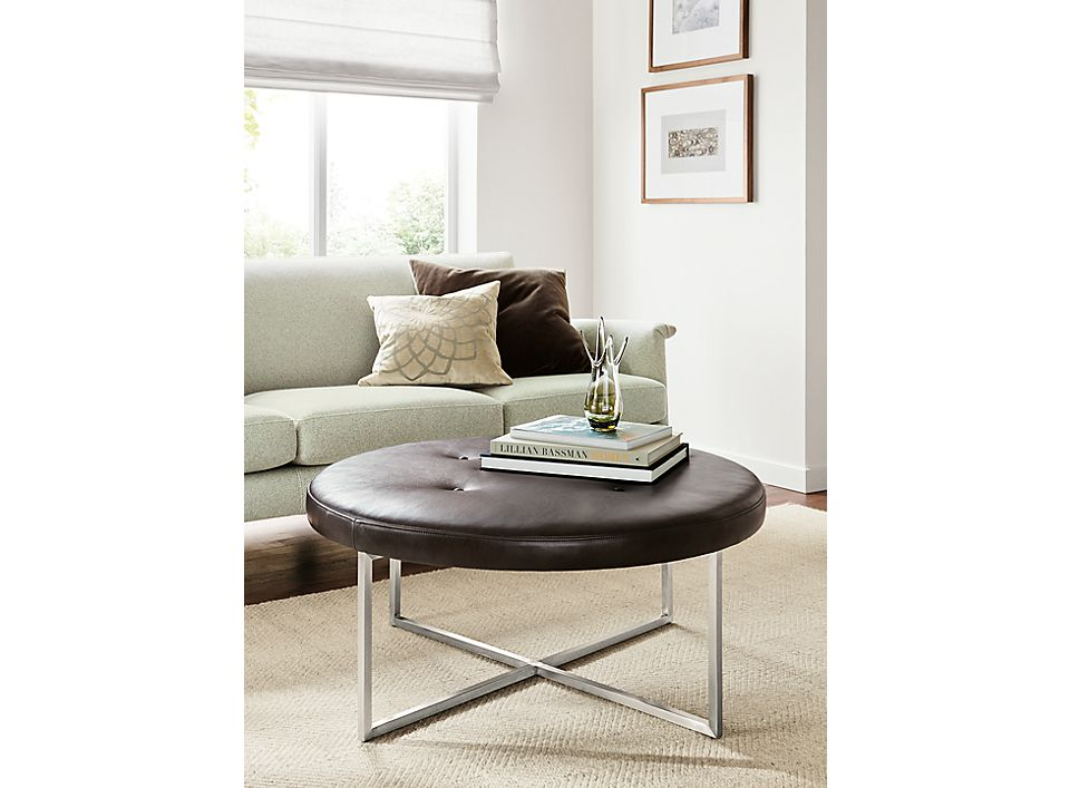 Sidney Leather Round Ottoman Room Board