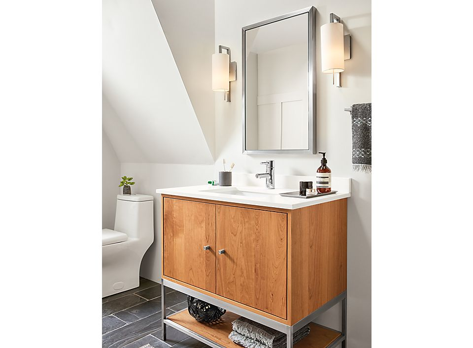 Linear Vanity With Soho Stainless Steel Mirror Room Board