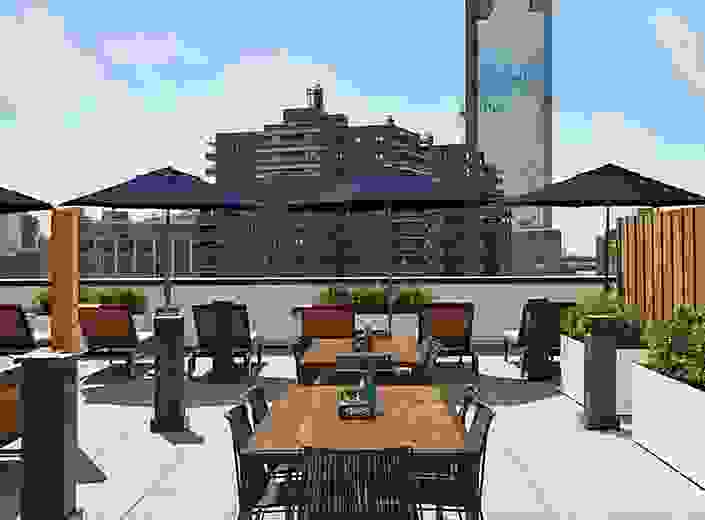 Dining area on The Rollins rooftop