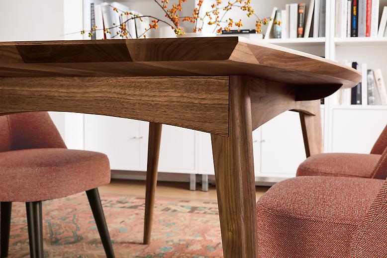 Detail of walnut Ventura dining table