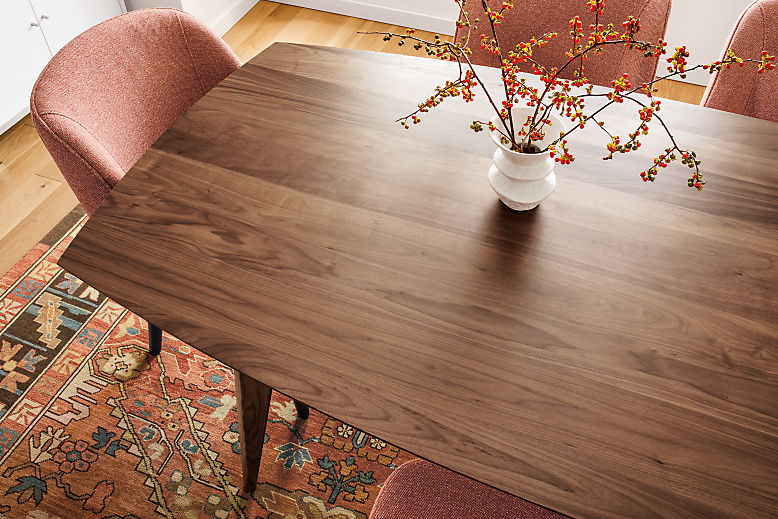 Detail of large Ventura dining table in walnut