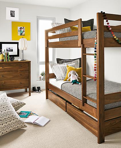 Detail of Waverly twin bunk in walnut in kids' bedroom