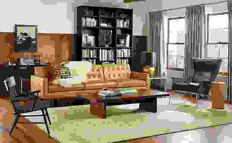 Detail of Wells three cushion sofa in brighton camel leather