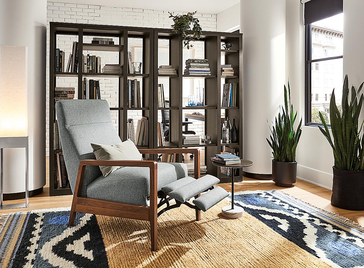 Woodwind Triple Open-Back Bookcase in Charcoal