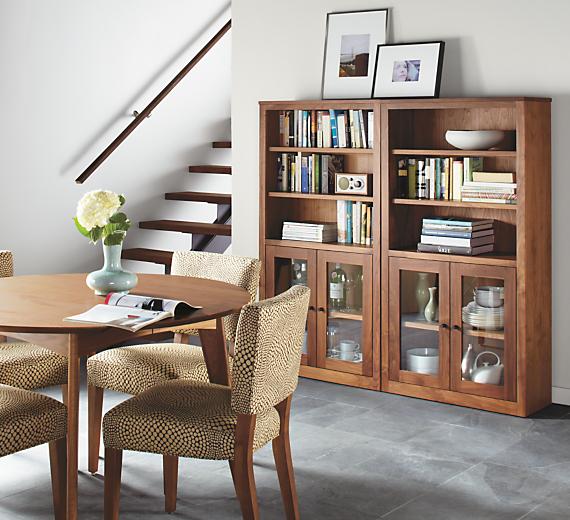 Detail of Woodwind custom bookcase in walnut
