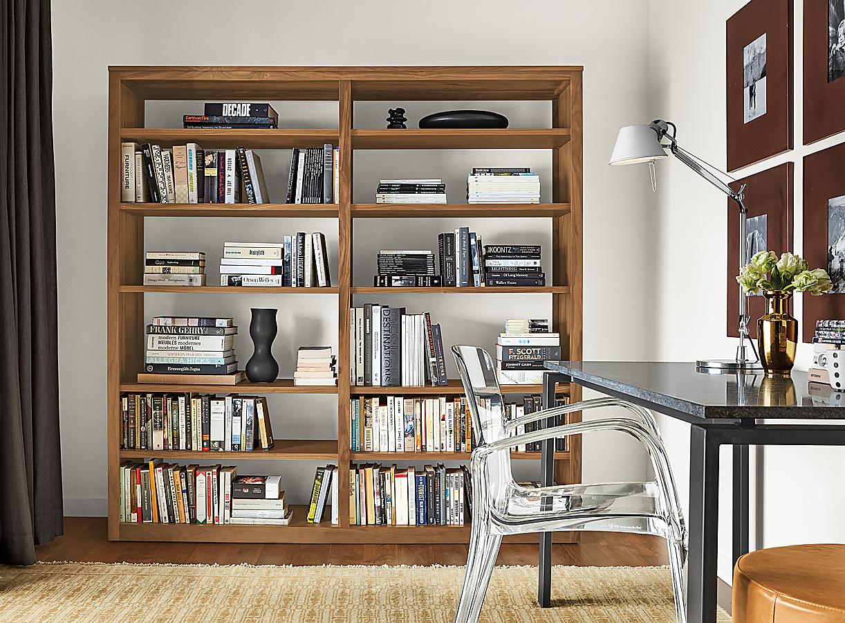 Woodwind Open-back Bookcase in Walnut