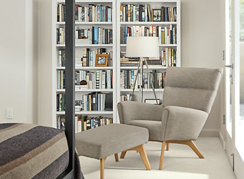 Woodwind White Bookcase with Boden Chair