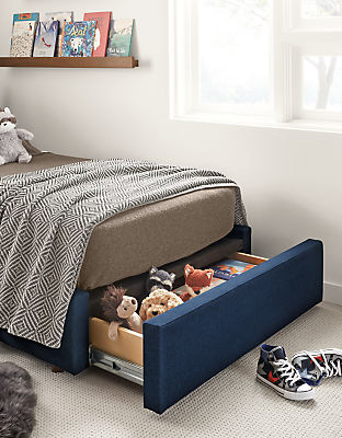 Detail of Wyatt twin storage bed in flint ink fabric
