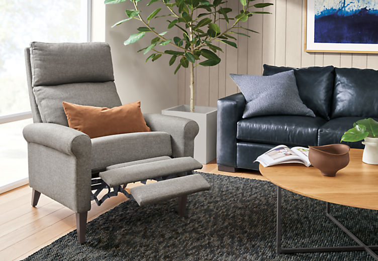 Detail of Wynton Select Recliner in Sumner Graphite fabric with footrest extended