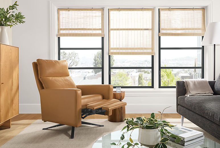 Detail of Wynton Select recliner in Lecco Camel leather with footrest extended in living room