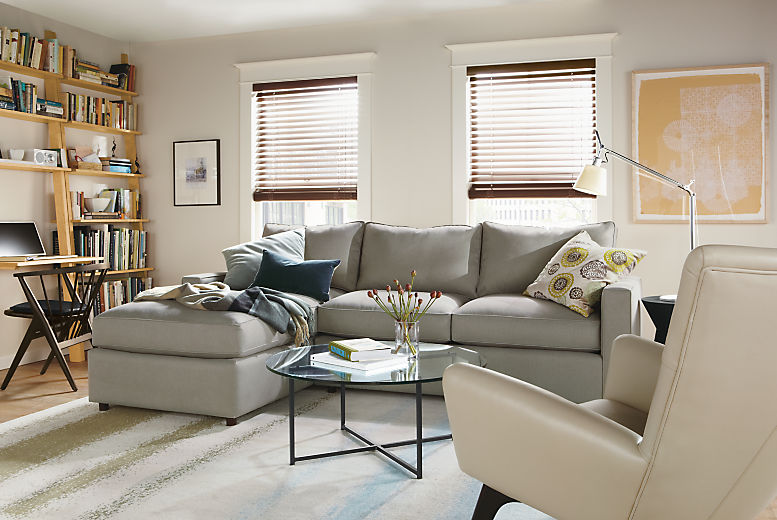 Detail of York sofa with left arm chaise in dawson cement fabric in living room